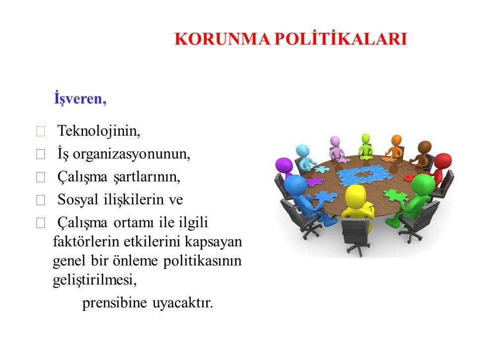 KORUNMA POLİTİKALARI İşveren,  Teknolojinin,  İş organizasyonunun,  Çalışma şartlarının,  Sosyal ilişkilerin ve  Çalışma ortamı ile ilgili faktör