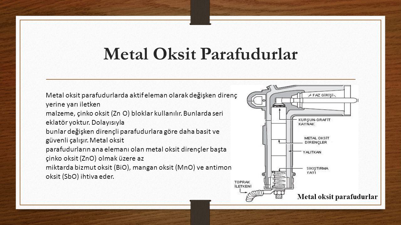 Metal Oksit Parafudurlar Metal oksit parafudurlarda aktif eleman olarak değişken direnç yerine yarı iletken malzeme, çinko oksit (Zn O) bloklar kullanılır.