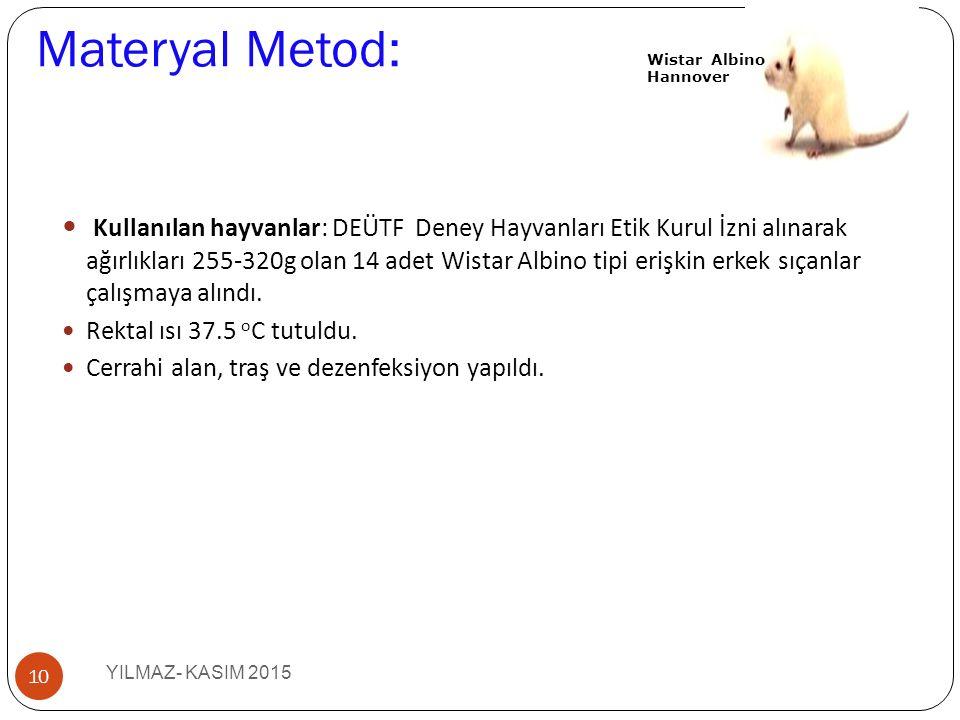 Materyal Metod: Kullanılan hayvanlar: DEÜTF Deney Hayvanları Etik Kurul İzni alınarak ağırlıkları 255-320g olan 14 adet Wistar Albino tipi erişkin erk