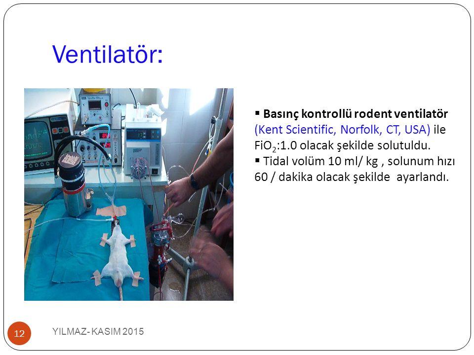 Ventilatör: YILMAZ- KASIM 2015 12  Basınç kontrollü rodent ventilatör (Kent Scientific, Norfolk, CT, USA) ile FiO 2 :1.0 olacak şekilde solutuldu. 