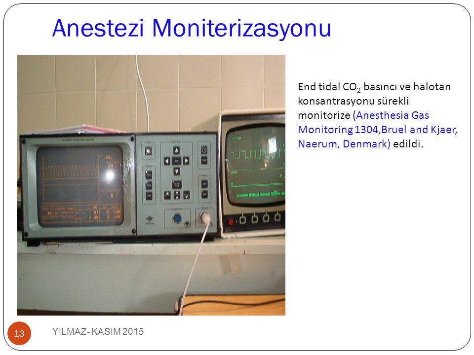 Anestezi Moniterizasyonu YILMAZ- KASIM 2015 13 End tidal CO 2 basıncı ve halotan konsantrasyonu sürekli monitorize (Anesthesia Gas Monitoring 1304,Bruel and Kjaer, Naerum, Denmark) edildi.