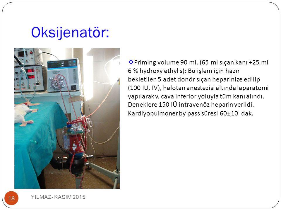 Oksijenatör: YILMAZ- KASIM 2015 18  Priming volume 90 ml. (65 ml sıçan kanı +25 ml 6 % hydroxy ethyl s): Bu işlem için hazır bekletilen 5 adet donör
