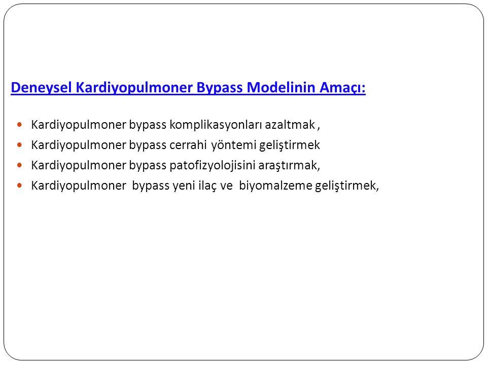Deneysel Kardiyopulmoner Bypass Modelinin Amaçı: Kardiyopulmoner bypass komplikasyonları azaltmak, Kardiyopulmoner bypass cerrahi yöntemi geliştirmek