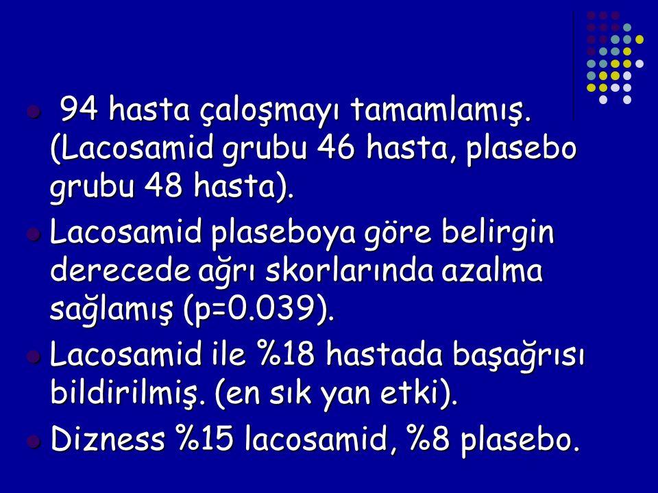 94 hasta çaloşmayı tamamlamış. (Lacosamid grubu 46 hasta, plasebo grubu 48 hasta). 94 hasta çaloşmayı tamamlamış. (Lacosamid grubu 46 hasta, plasebo g