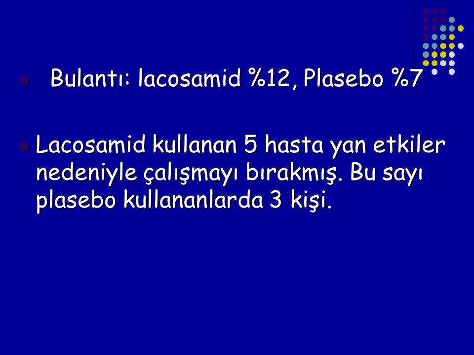 Bulantı: lacosamid %12, Plasebo %7 Bulantı: lacosamid %12, Plasebo %7 Lacosamid kullanan 5 hasta yan etkiler nedeniyle çalışmayı bırakmış. Bu sayı pla
