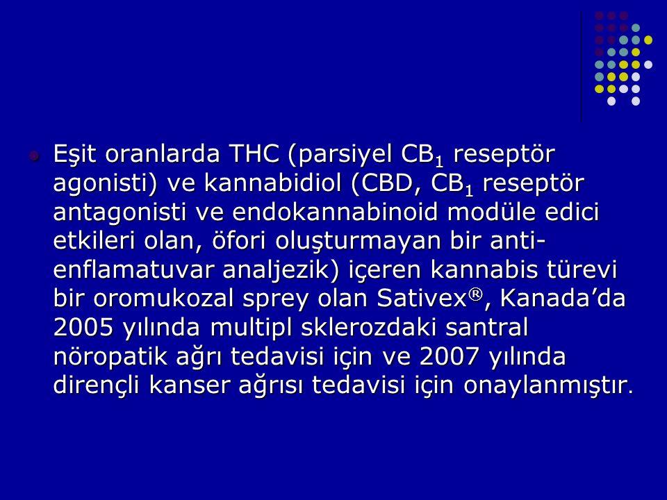 Eşit oranlarda THC (parsiyel CB 1 reseptör agonisti) ve kannabidiol (CBD, CB 1 reseptör antagonisti ve endokannabinoid modüle edici etkileri olan, öfo