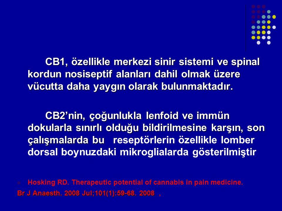CB1, özellikle merkezi sinir sistemi ve spinal kordun nosiseptif alanları dahil olmak üzere vücutta daha yaygın olarak bulunmaktadır. CB2'nin, çoğunlu