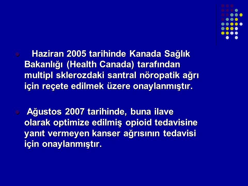 Haziran 2005 tarihinde Kanada Sağlık Bakanlığı (Health Canada) tarafından multipl sklerozdaki santral nöropatik ağrı için reçete edilmek üzere onaylan