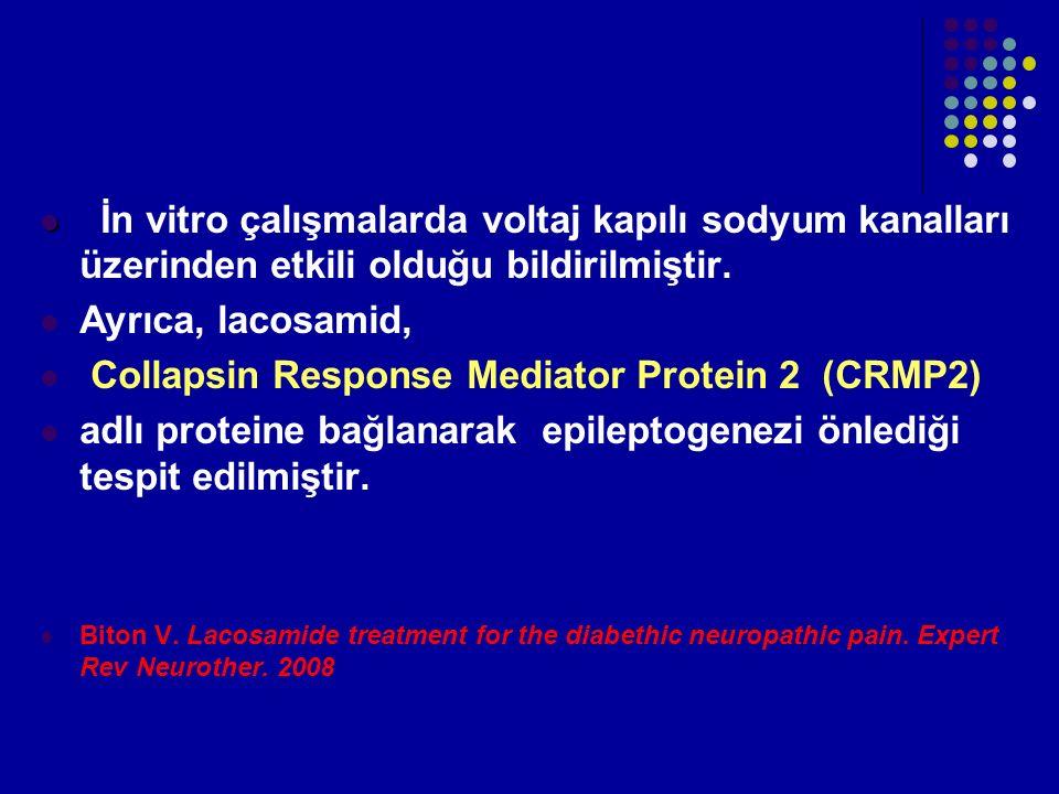 İn vitro çalışmalarda voltaj kapılı sodyum kanalları üzerinden etkili olduğu bildirilmiştir. Ayrıca, lacosamid, Collapsin Response Mediator Protein 2