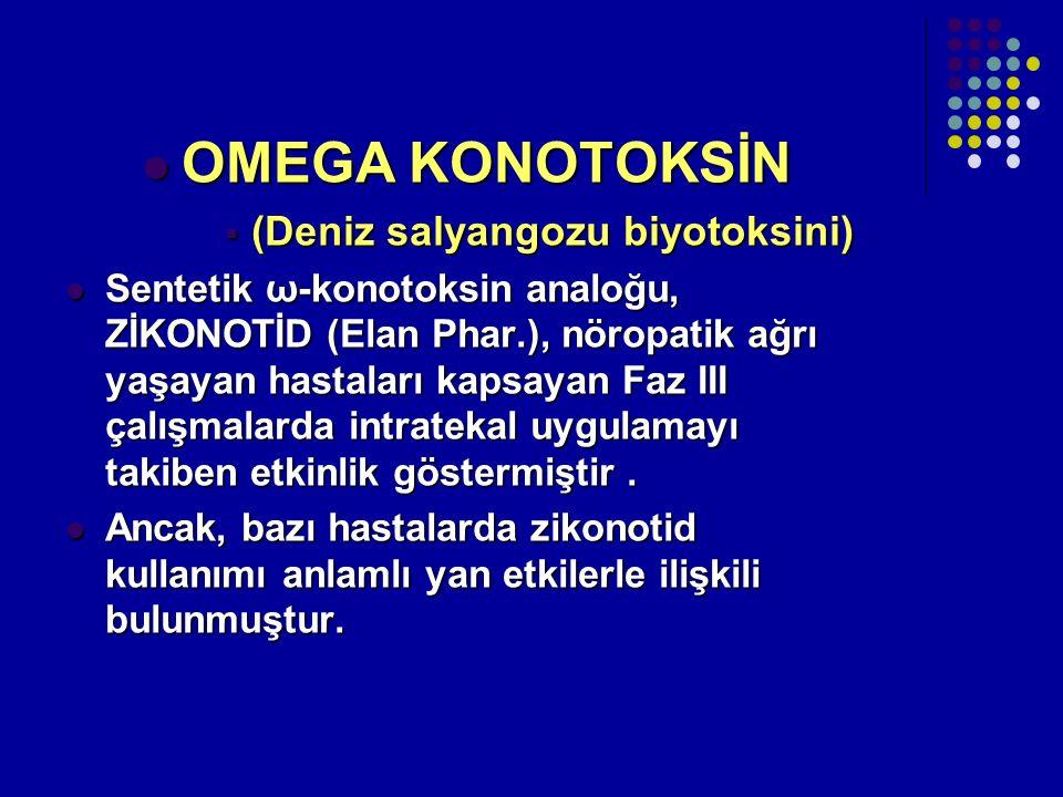 OMEGA KONOTOKSİN OMEGA KONOTOKSİN  (Deniz salyangozu biyotoksini) Sentetik ω-konotoksin analoğu, ZİKONOTİD (Elan Phar.), nöropatik ağrı yaşayan hasta