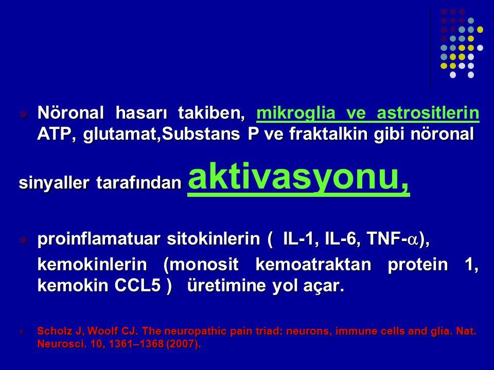Nöronal hasarı takiben, ATP, glutamat,Substans P ve fraktalkin gibi nöronal Nöronal hasarı takiben, mikroglia ve astrositlerin ATP, glutamat,Substans