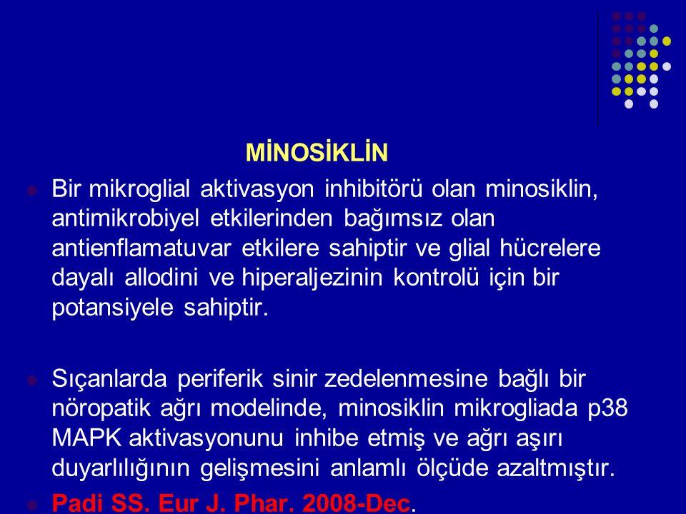 MİNOSİKLİN Bir mikroglial aktivasyon inhibitörü olan minosiklin, antimikrobiyel etkilerinden bağımsız olan antienflamatuvar etkilere sahiptir ve glial
