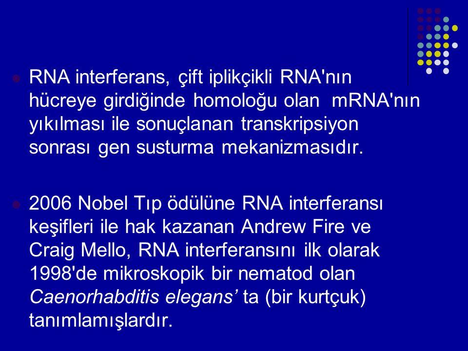 RNA interferans, çift iplikçikli RNA'nın hücreye girdiğinde homoloğu olan mRNA'nın yıkılması ile sonuçlanan transkripsiyon sonrası gen susturma mekani