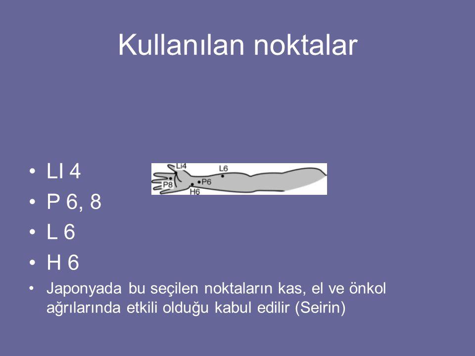 Kullanılan noktalar LI 4 P 6, 8 L 6 H 6 Japonyada bu seçilen noktaların kas, el ve önkol ağrılarında etkili olduğu kabul edilir (Seirin)