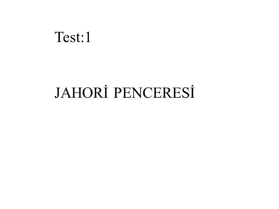 Test:1 JAHORİ PENCERESİ