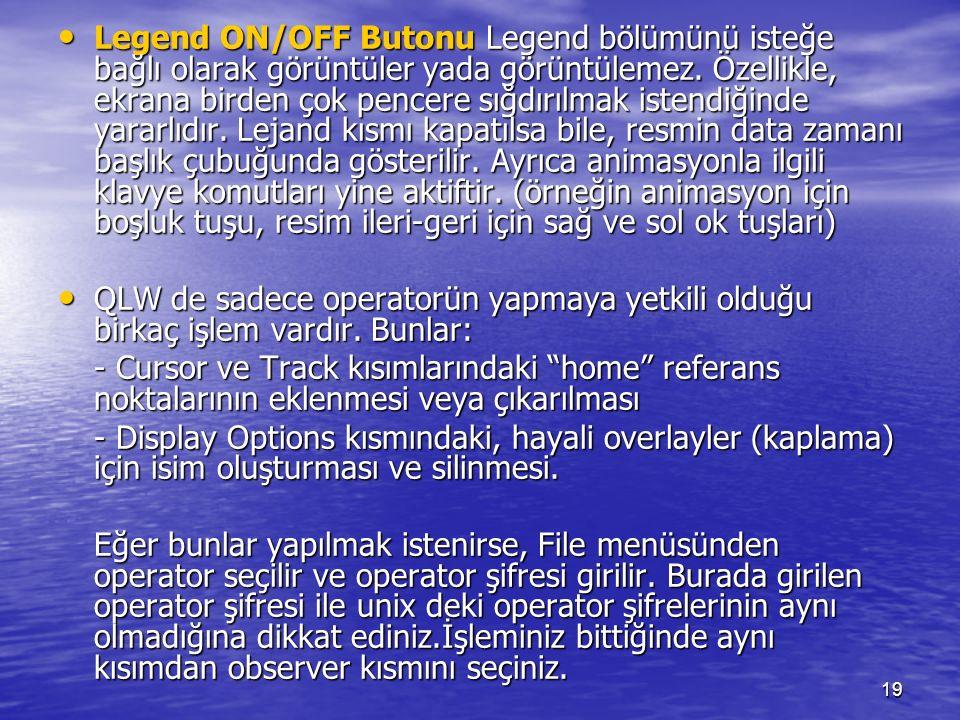 19 Legend ON/OFF Butonu Legend bölümünü isteğe bağlı olarak görüntüler yada görüntülemez. Özellikle, ekrana birden çok pencere sığdırılmak istendiğind