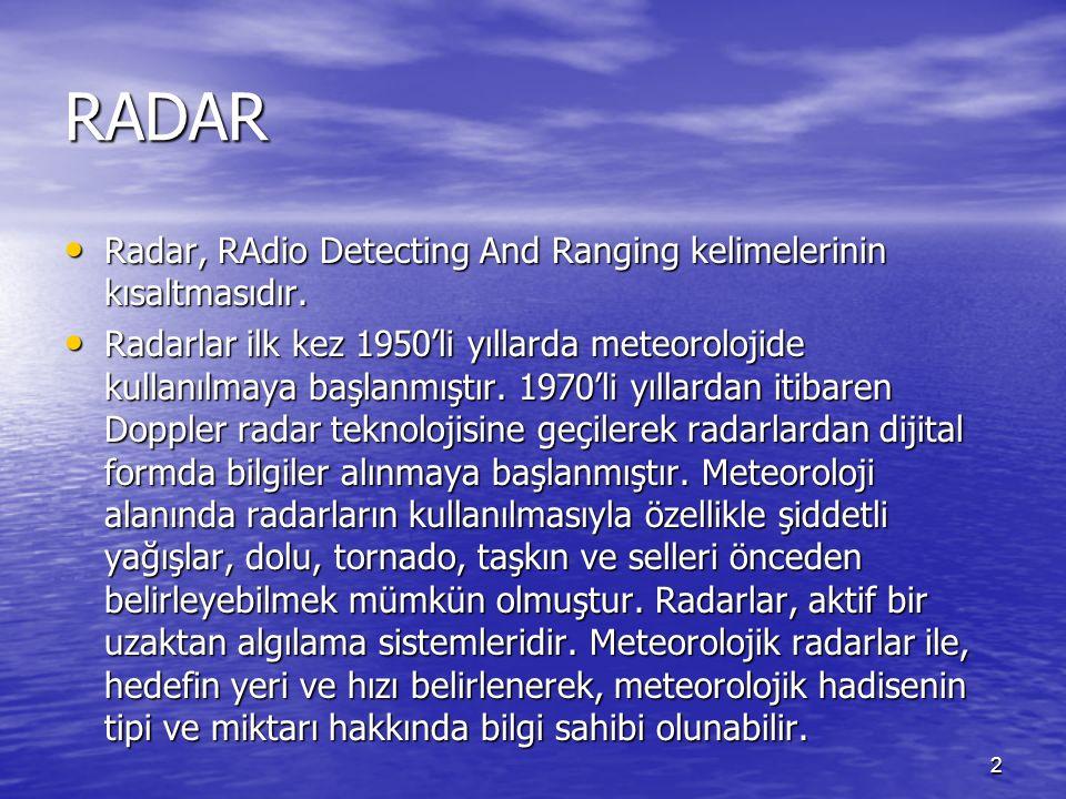 RADAR Radar, RAdio Detecting And Ranging kelimelerinin kısaltmasıdır. Radar, RAdio Detecting And Ranging kelimelerinin kısaltmasıdır. Radarlar ilk kez