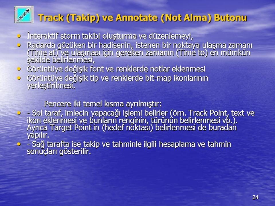 24 Track (Takip) ve Annotate (Not Alma) Butonu Track (Takip) ve Annotate (Not Alma) Butonu İnteraktif storm takibi oluşturma ve düzenlemeyi, İnterakti