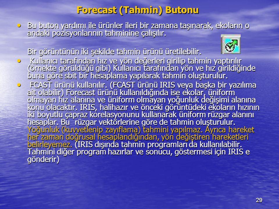 29 Forecast (Tahmin) Butonu Bu buton yardımı ile ürünler ileri bir zamana taşınarak, ekoların o andaki pozisyonlarının tahminine çalışılır. Bu buton y