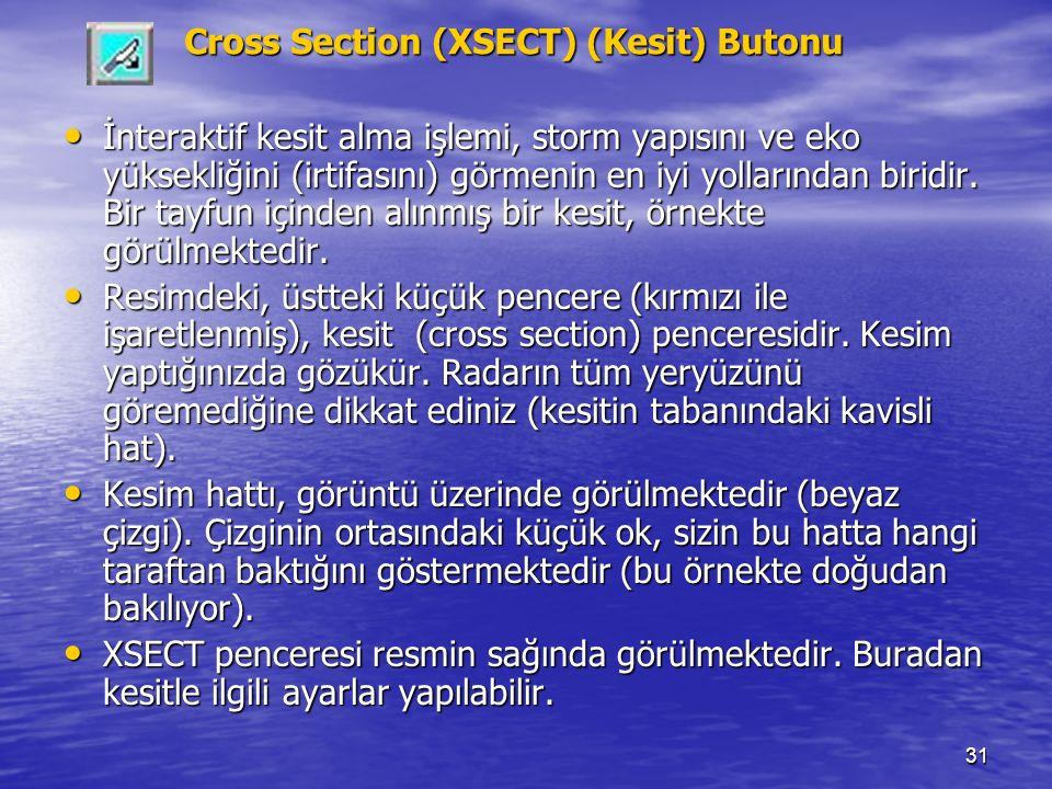 31 Cross Section (XSECT) (Kesit) Butonu İnteraktif kesit alma işlemi, storm yapısını ve eko yüksekliğini (irtifasını) görmenin en iyi yollarından biri