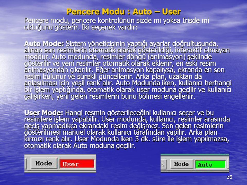 35 Pencere Modu : Auto – User Pencere modu, pencere kontrolünün sizde mi yoksa Irisde mi olduğunu gösterir. İki seçenek vardır: Auto Mode: Sistem yöne