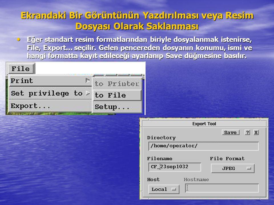 36 Ekrandaki Bir Görüntünün Yazdırılması veya Resim Dosyası Olarak Saklanması Eğer standart resim formatlarından biriyle dosyalanmak istenirse, File,