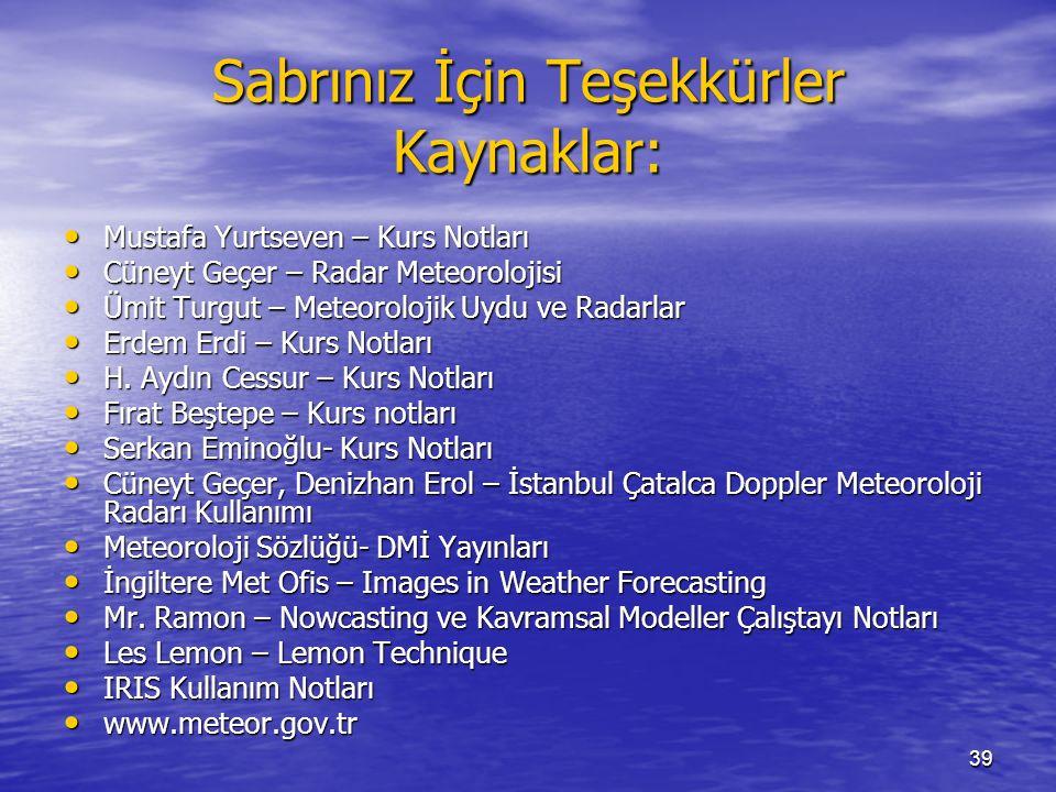 39 Sabrınız İçin Teşekkürler Kaynaklar: Mustafa Yurtseven – Kurs Notları Mustafa Yurtseven – Kurs Notları Cüneyt Geçer – Radar Meteorolojisi Cüneyt Ge
