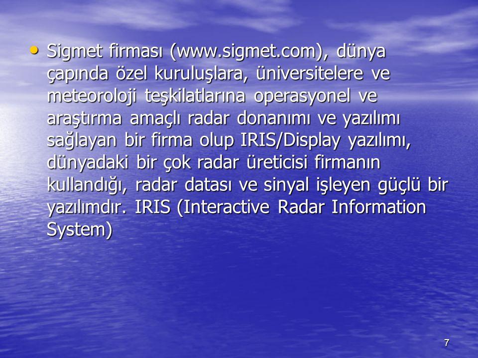 7 Sigmet firması (www.sigmet.com), dünya çapında özel kuruluşlara, üniversitelere ve meteoroloji teşkilatlarına operasyonel ve araştırma amaçlı radar
