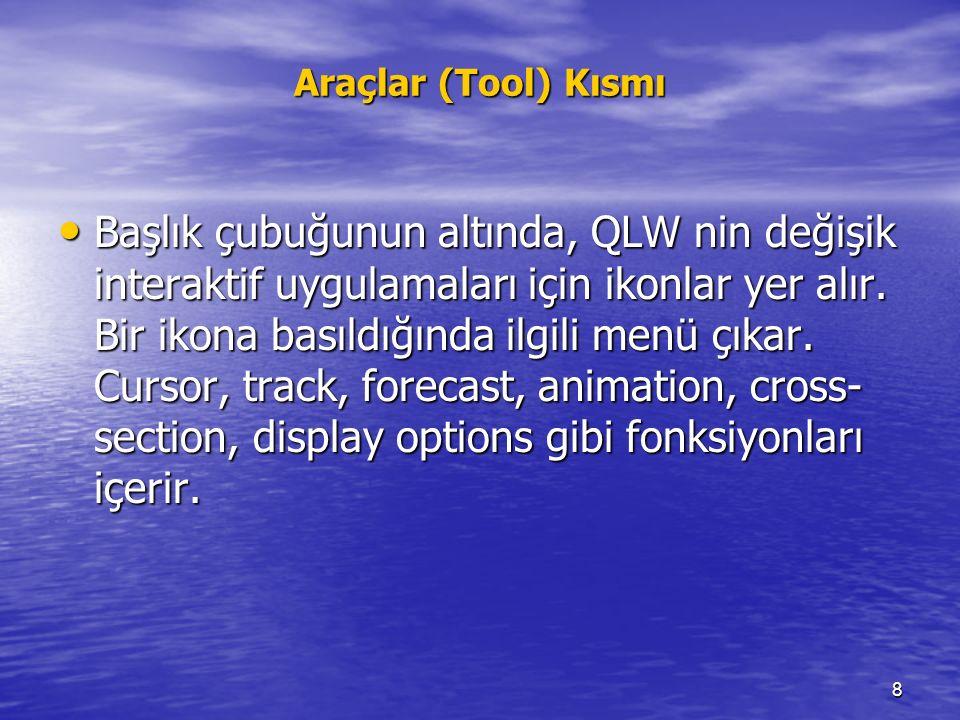 8 Araçlar (Tool) Kısmı Başlık çubuğunun altında, QLW nin değişik interaktif uygulamaları için ikonlar yer alır. Bir ikona basıldığında ilgili menü çık