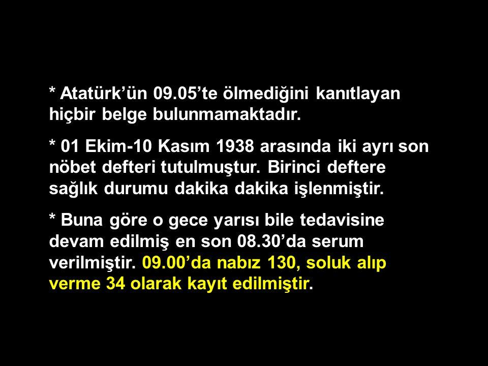 * Atatürk'ün 09.05'te ölmediğini kanıtlayan hiçbir belge bulunmamaktadır. * 01 Ekim-10 Kasım 1938 arasında iki ayrı son nöbet defteri tutulmuştur. Bir