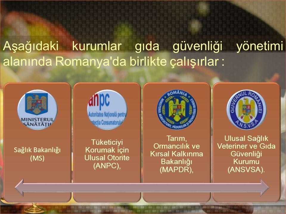 Aşağıdaki kurumlar gıda güvenliği yönetimi alanında Romanya da birlikte çalışırlar : Sağlık Bakanlığı (MS) Tüketiciyi Korumak için Ulusal Otorite (ANPC), Tarım, Ormancılık ve Kırsal Kalkınma Bakanlığı (MAPDR), Ulusal Sağlık Veteriner ve Gıda Güvenliği Kurumu (ANSVSA).