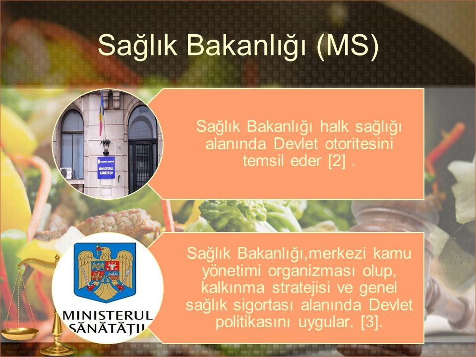 Sağlık Bakanlığı (MS) Sağlık Bakanlığı halk sağlığı alanında Devlet otoritesini temsil eder [2]. Sağlık Bakanlığı,merkezi kamu yönetimi organizması ol