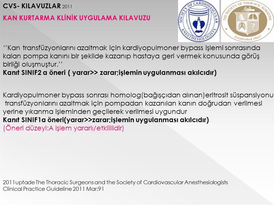 CVS- KILAVUZLAR 2011 KAN KURTARMA KLİNİK UYGULAMA KILAVUZU ''Kan transfüzyonlarını azaltmak için kardiyopulmoner bypass işlemi sonrasında kalan pompa