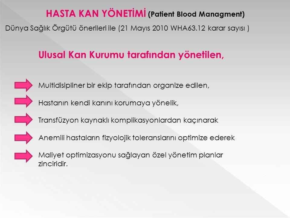 HASTA KAN YÖNETİMİ Ulusal Kan Kurumu tarafından yönetilen, Multidisipliner bir ekip tarafından organize edilen, Hastanın kendi kanını korumaya yönelik