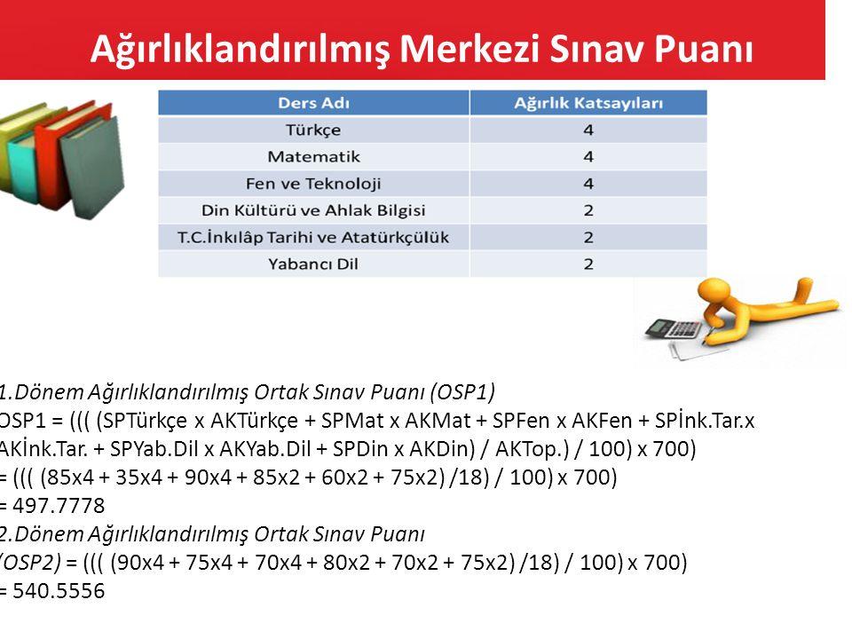 Ağırlıklandırılmış Merkezi Sınav Puanı 1.Dönem Ağırlıklandırılmış Ortak Sınav Puanı (OSP1) OSP1 = ((( (SPTürkçe x AKTürkçe + SPMat x AKMat + SPFen x A