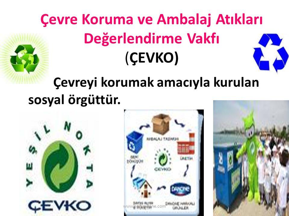 Çevre Koruma ve Ambalaj Atıkları Değerlendirme Vakfı (ÇEVKO) Çevreyi korumak amacıyla kurulan sosyal örgüttür.