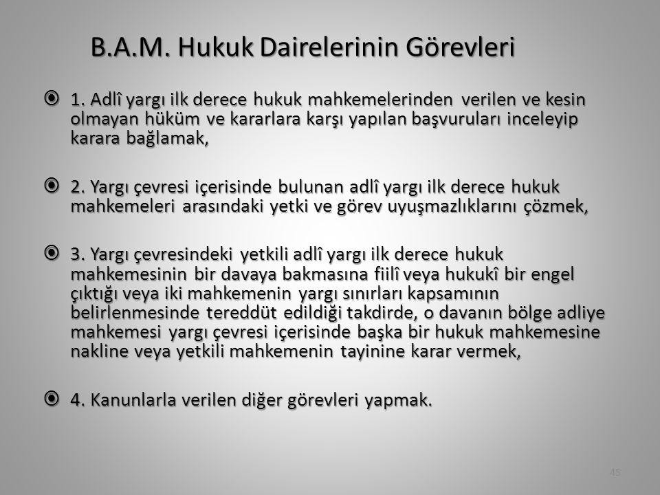 B.A.M. Hukuk Dairelerinin Görevleri  1. Adlî yargı ilk derece hukuk mahkemelerinden verilen ve kesin olmayan hüküm ve kararlara karşı yapılan başvuru