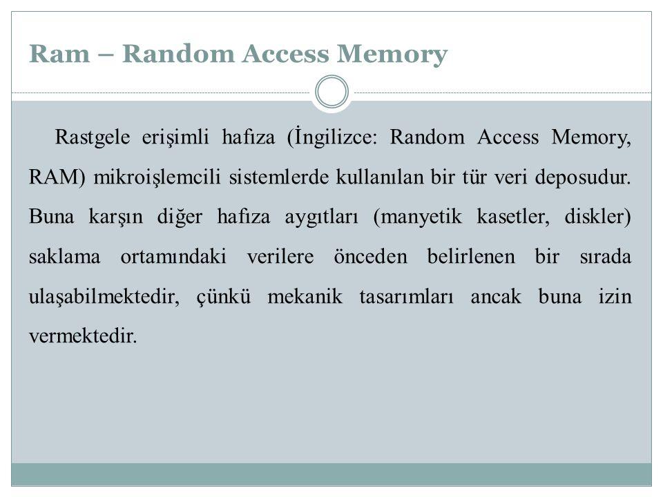 Ram – Random Access Memory Rastgele erişimli hafıza (İngilizce: Random Access Memory, RAM) mikroişlemcili sistemlerde kullanılan bir tür veri deposudu
