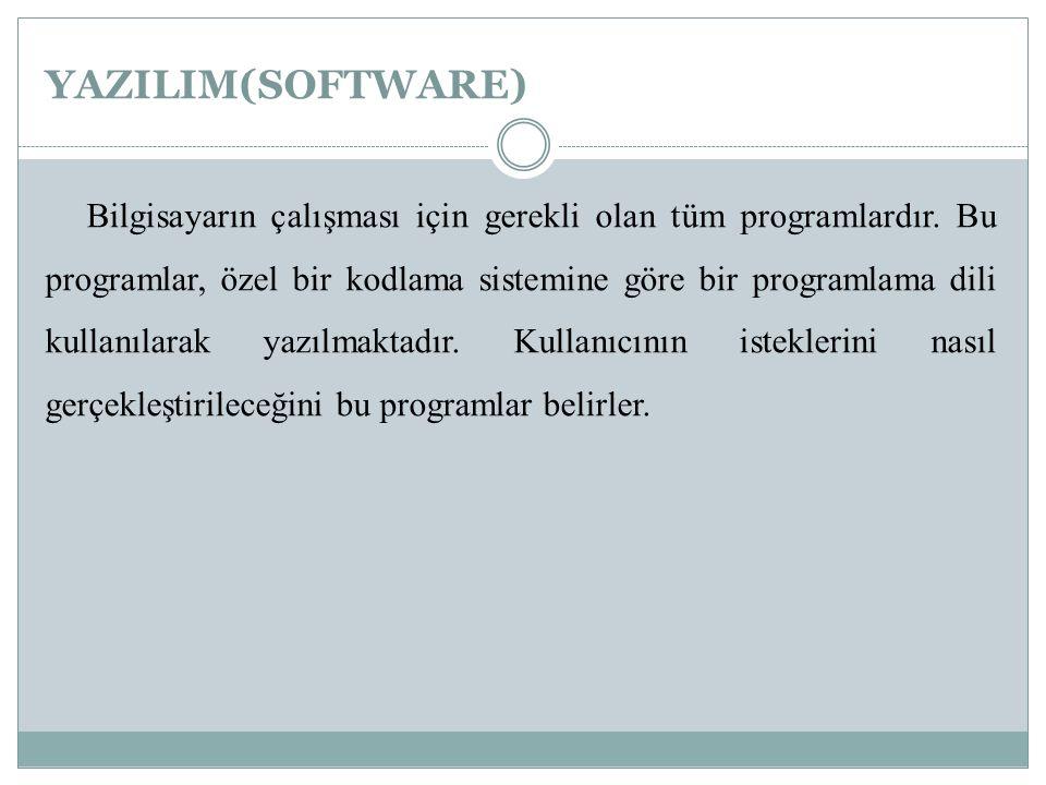 YAZILIM(SOFTWARE) Bilgisayarın çalışması için gerekli olan tüm programlardır. Bu programlar, özel bir kodlama sistemine göre bir programlama dili kull