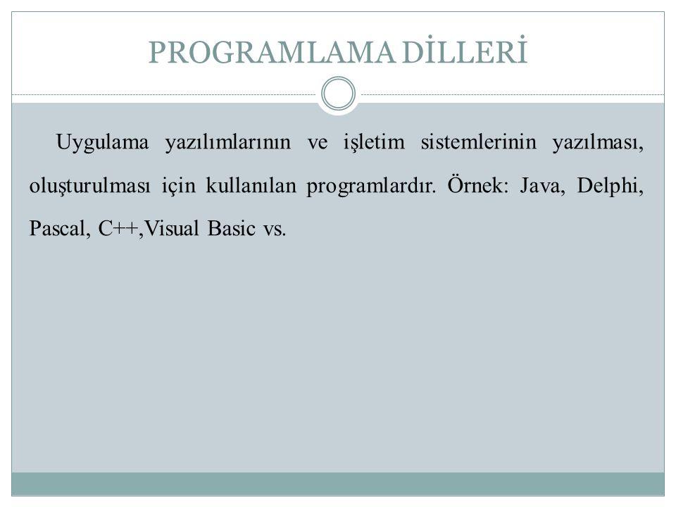 PROGRAMLAMA DİLLERİ Uygulama yazılımlarının ve işletim sistemlerinin yazılması, oluşturulması için kullanılan programlardır.