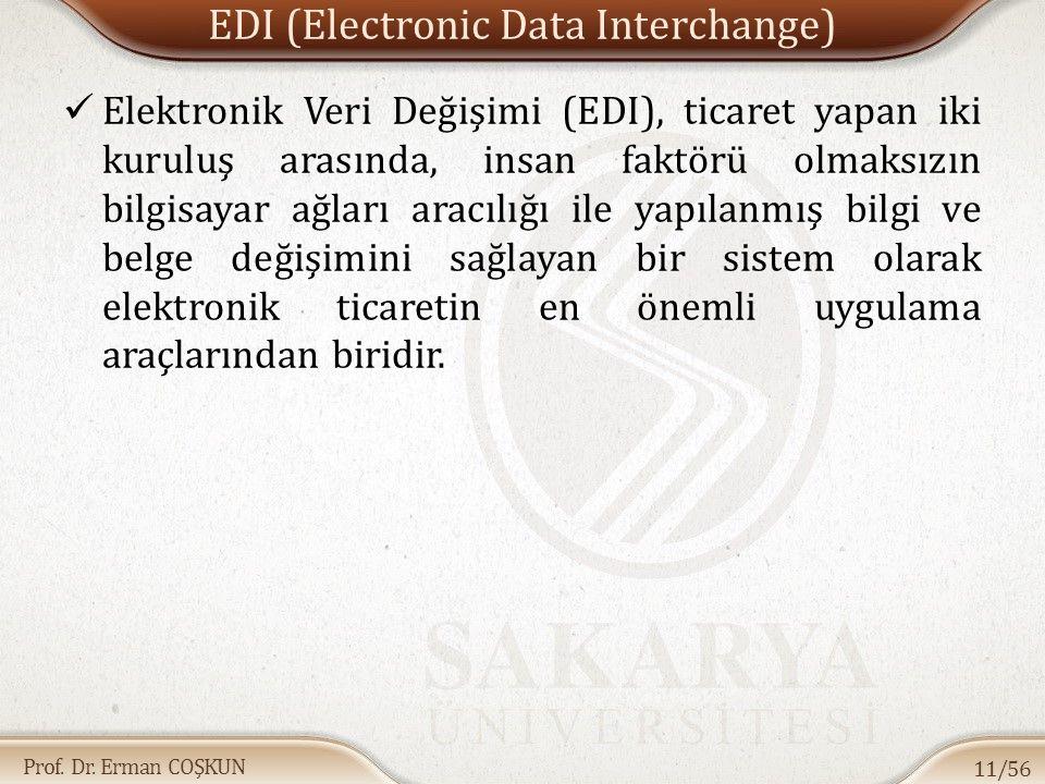 Prof. Dr. Erman COŞKUN EDI (Electronic Data Interchange) Elektronik Veri Değişimi (EDI), ticaret yapan iki kuruluş arasında, insan faktörü olmaksızın