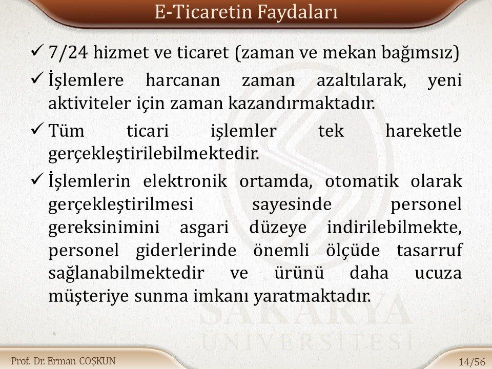 Prof. Dr. Erman COŞKUN E-Ticaretin Faydaları 7/24 hizmet ve ticaret (zaman ve mekan bağımsız) İşlemlere harcanan zaman azaltılarak, yeni aktiviteler i