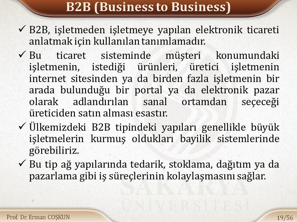 Prof. Dr. Erman COŞKUN B2B (Business to Business) B2B, işletmeden işletmeye yapılan elektronik ticareti anlatmak için kullanılan tanımlamadır. Bu tica