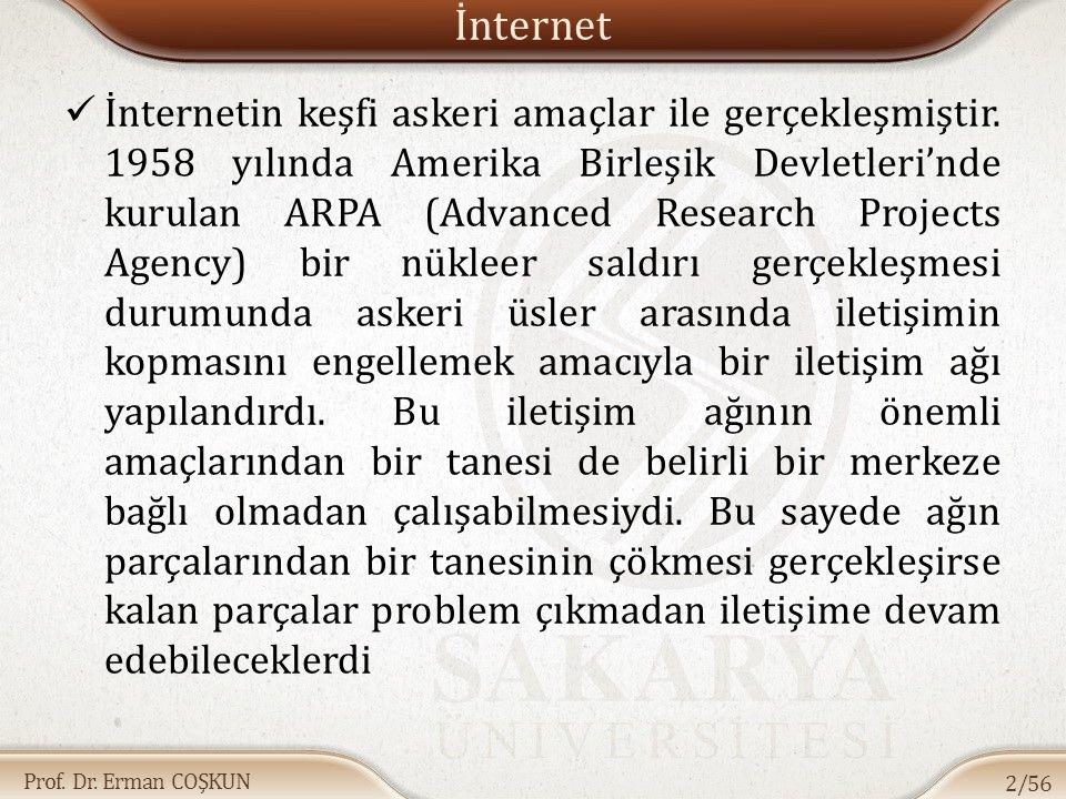 Prof. Dr. Erman COŞKUN İnternet İnternetin keşfi askeri amaçlar ile gerçekleşmiştir. 1958 yılında Amerika Birleşik Devletleri'nde kurulan ARPA (Advanc