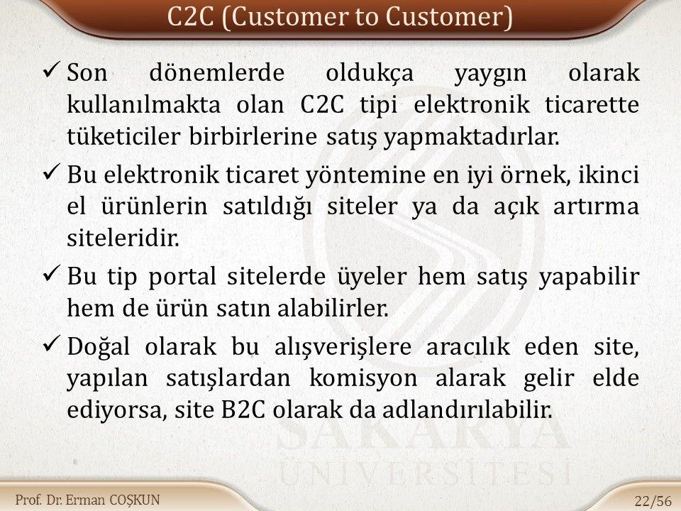 Prof. Dr. Erman COŞKUN C2C (Customer to Customer) Son dönemlerde oldukça yaygın olarak kullanılmakta olan C2C tipi elektronik ticarette tüketiciler bi
