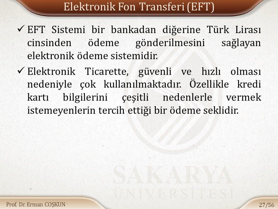 Prof. Dr. Erman COŞKUN Elektronik Fon Transferi (EFT) EFT Sistemi bir bankadan diğerine Türk Lirası cinsinden ödeme gönderilmesini sağlayan elektronik