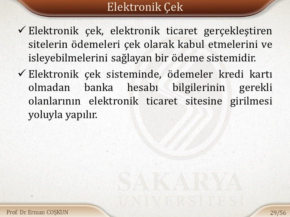 Prof. Dr. Erman COŞKUN Elektronik Çek Elektronik çek, elektronik ticaret gerçekleştiren sitelerin ödemeleri çek olarak kabul etmelerini ve isleyebilme