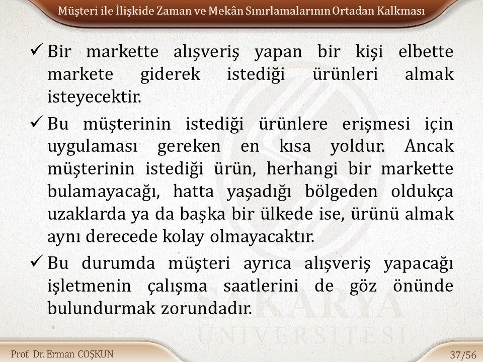 Prof. Dr. Erman COŞKUN Müşteri ile İlişkide Zaman ve Mekân Sınırlamalarının Ortadan Kalkması Bir markette alışveriş yapan bir kişi elbette markete gid