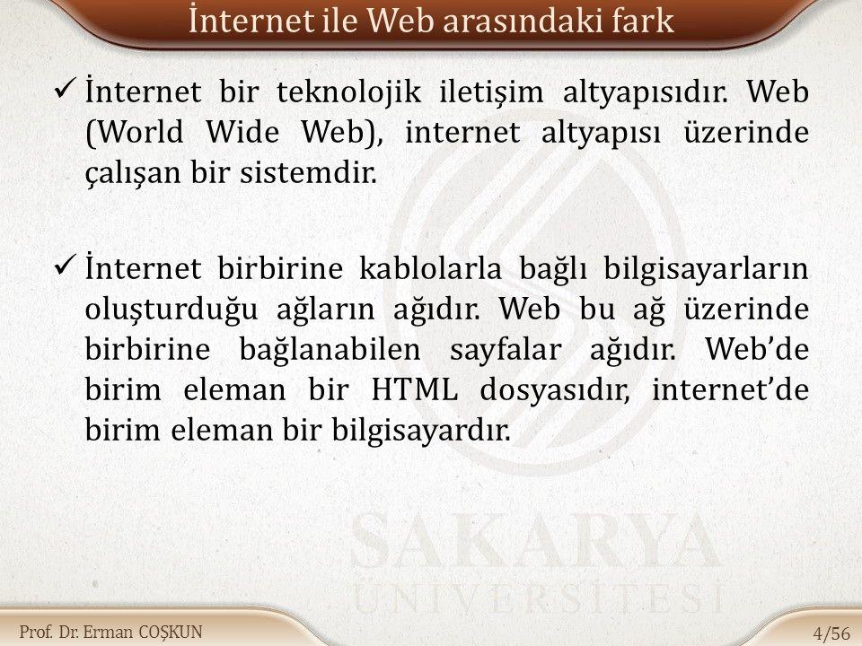 Prof. Dr. Erman COŞKUN İnternet ile Web arasındaki fark İnternet bir teknolojik iletişim altyapısıdır. Web (World Wide Web), internet altyapısı üzerin