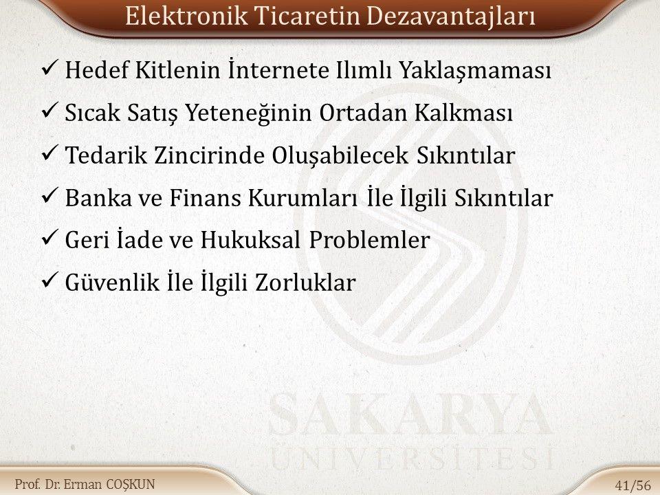 Prof. Dr. Erman COŞKUN Elektronik Ticaretin Dezavantajları Hedef Kitlenin İnternete Ilımlı Yaklaşmaması Sıcak Satış Yeteneğinin Ortadan Kalkması Tedar